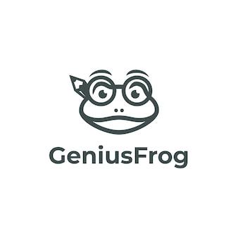 Szablon logo genius frog na białym tle