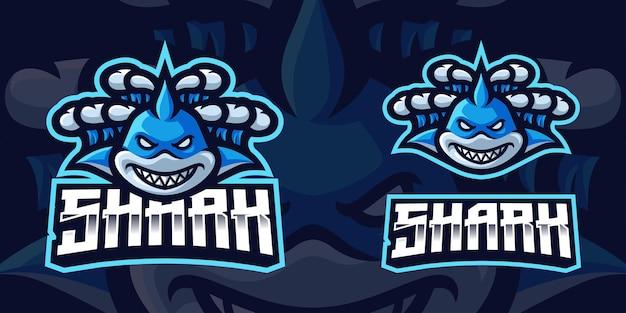 Szablon logo gier maskotka rekin przemiata przez fale dla streamera e-sportowego facebook youtube