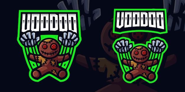 Szablon logo gier maskotka voodoo doll dla streamera e-sportowego facebook youtube