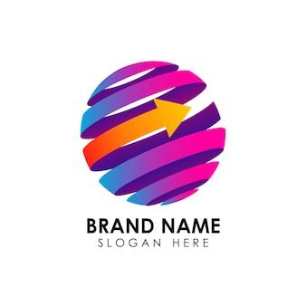 Szablon logo glob pasy z kształt strzałki