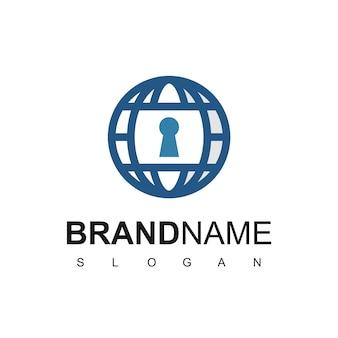 Szablon logo globalnego bezpieczeństwa, ikona kuli ziemskiej