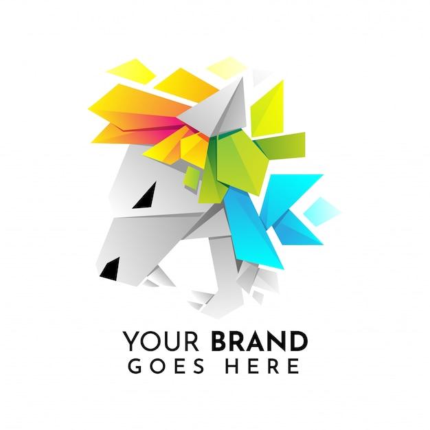 Szablon logo głowa lwa origami