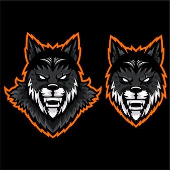 Szablon logo głowy dzikiego gniewnego husky wilka