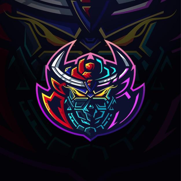Szablon logo głowy samuraja neonowego gundama