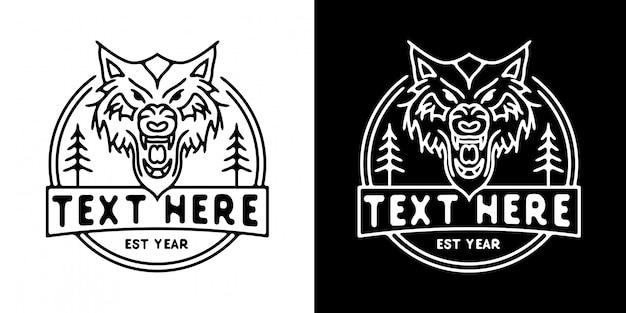 Szablon logo głowy tygrysa monoline