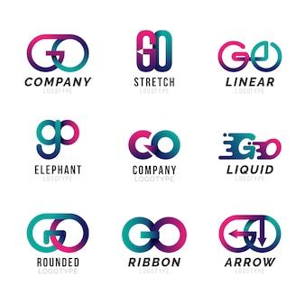Szablon logo go w kolorze gradientu