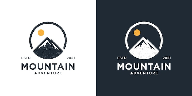 Szablon logo górskiej przygody na świeżym powietrzu. zaprojektuj grafikę na koszulkę, torbę i inne zastosowania!