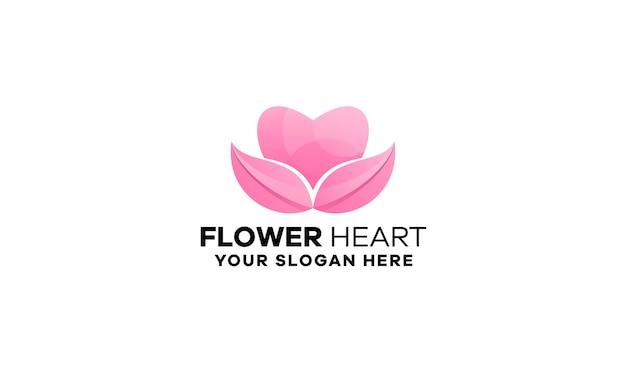 Szablon logo gradient kwiatu serca