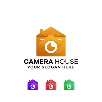 Szablon logo gradientowego domu kamery house