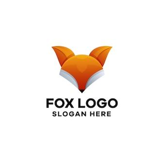 Szablon logo gradientowego fox