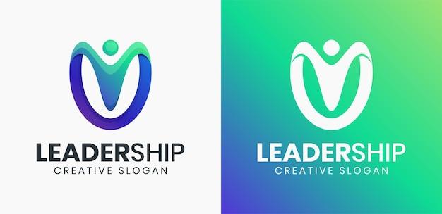 Szablon logo gradientowego lidera abstrakcyjnego ludzi