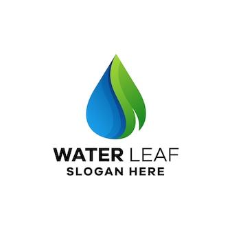 Szablon logo gradientowego liścia wody