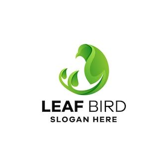 Szablon logo gradientowego liścia