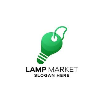 Szablon logo gradientowego rynku lamp