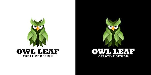 Szablon logo gradientowego zielonego liścia sowy