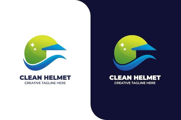 Szablon logo gradientu czyszczenia kasku