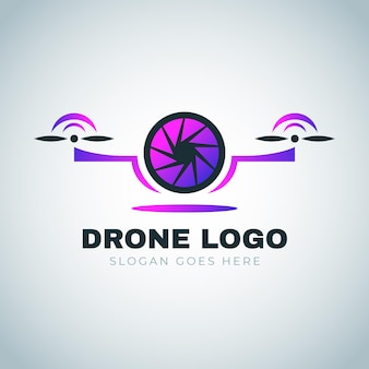 Szablon logo gradientu drone