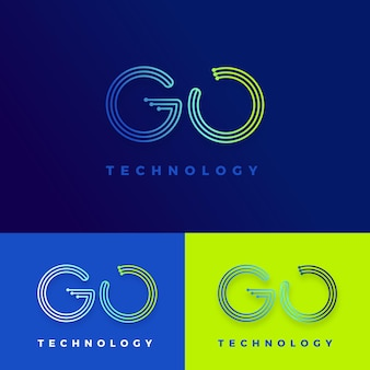 Szablon logo gradientu go