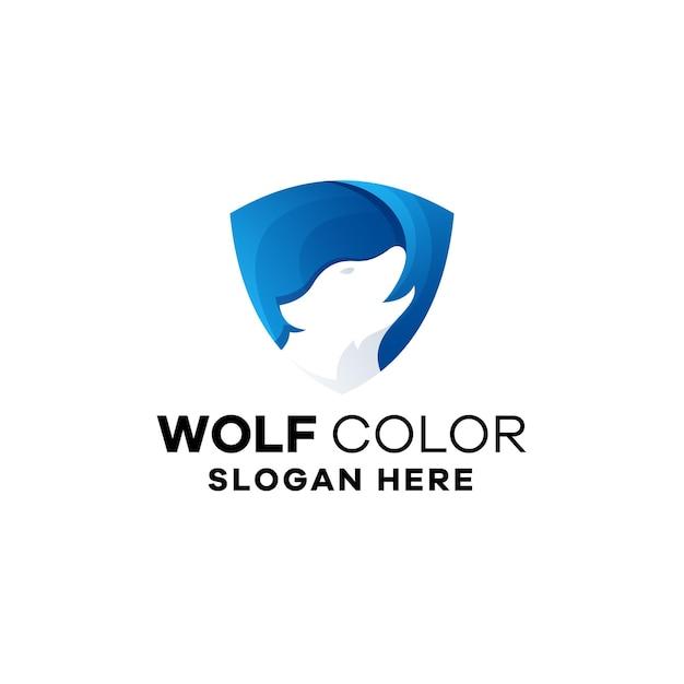 Szablon logo gradientu kolorów wilka