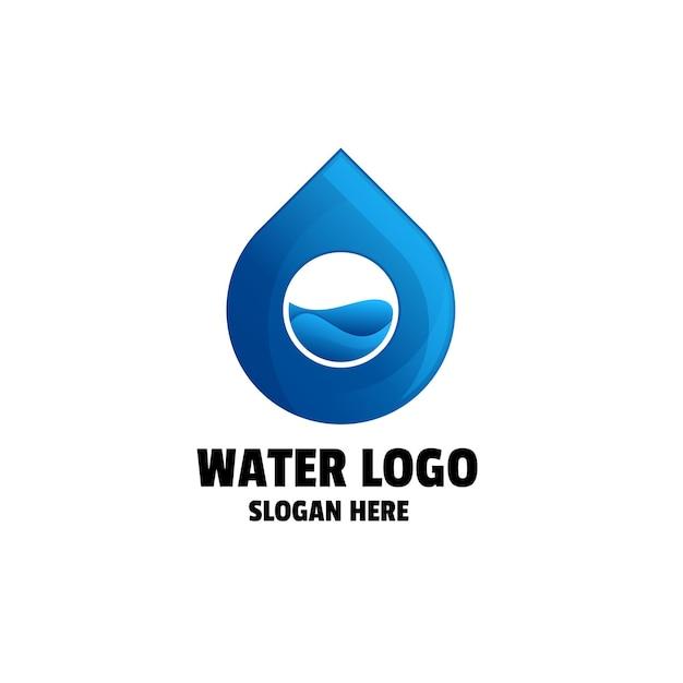 Szablon logo gradientu kropli wody