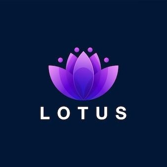 Szablon logo gradientu kwiat lotosu