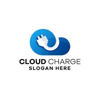 Szablon logo gradientu ładowania w chmurze