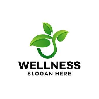 Szablon logo gradientu liści wellness