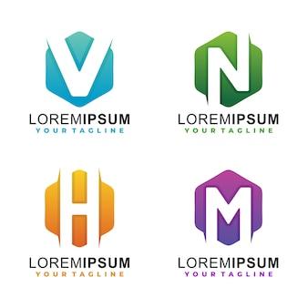 Szablon logo gradientu liter