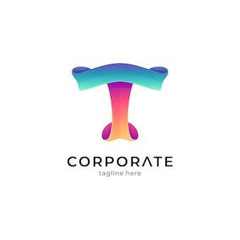 Szablon logo gradientu litery t z koncepcją kształtu wstążki