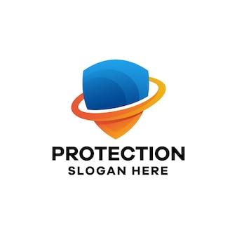 Szablon logo gradientu ochrony