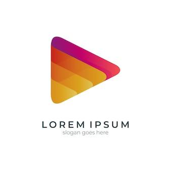 Szablon logo gradientu odtwarzania mediów