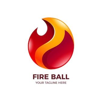 Szablon logo gradientu ognia kula ognia