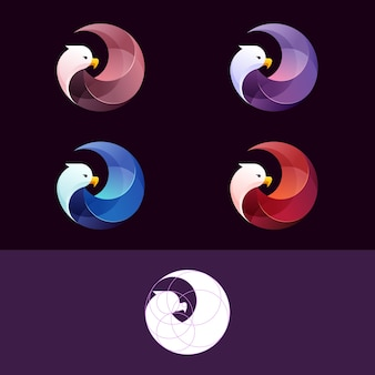Szablon logo gradientu orła