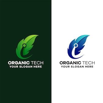 Szablon logo gradientu techniki organicznej