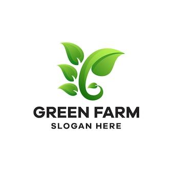Szablon logo gradientu zielonej farmy