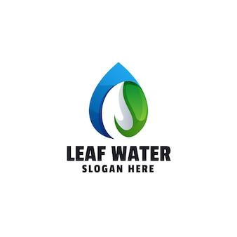 Szablon logo gradientu zielonej wody