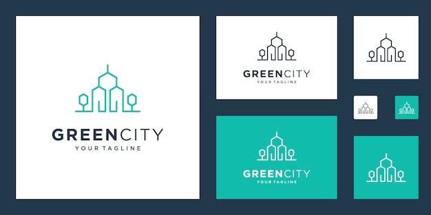 Szablon logo green house real estate. minimalistyczny symbol konturu budynków przyjaznych dla środowiska.