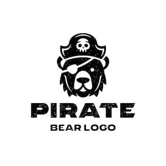 Szablon logo grunge niedźwiedź pirat