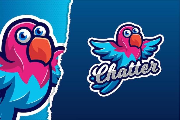 Szablon logo gry e-sport blue bird