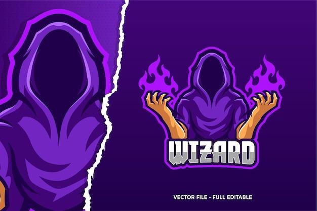Szablon logo gry e-sport cloak wizard