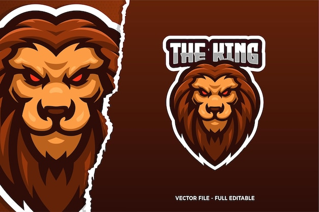 Szablon logo gry e-sport król lew