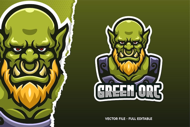 Szablon logo gry e-sport monster orc