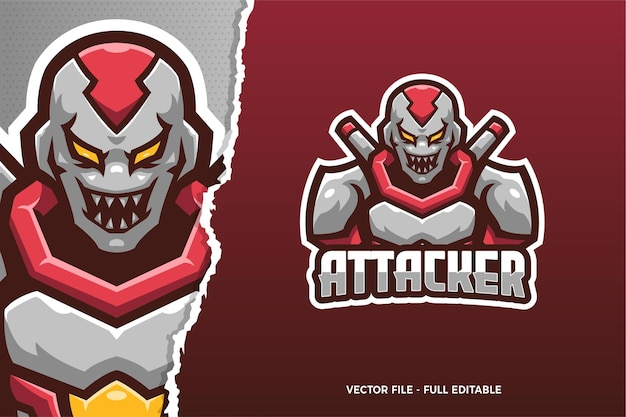 Szablon logo gry e-sport monster soldier