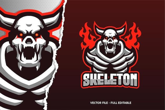 Szablon logo gry e-sport szkielet czerwonych oczu