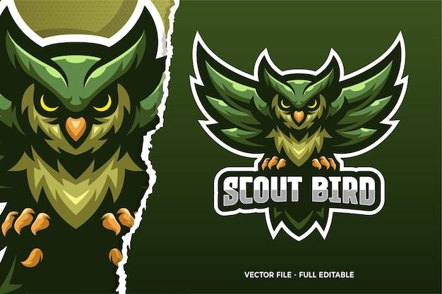 Szablon logo gry e-sport zielony ptak skaut