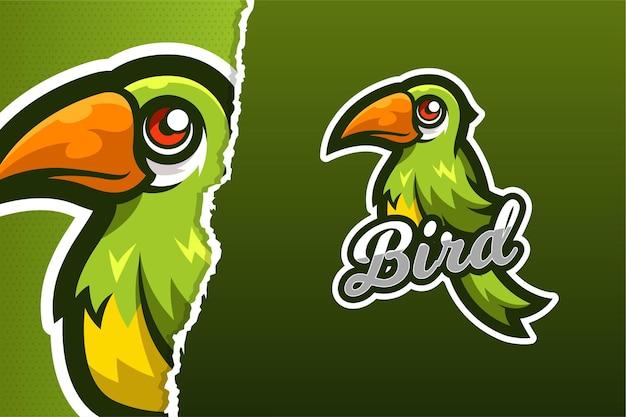 Szablon logo gry e-sport zielony ptak