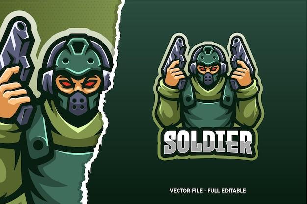 Szablon logo gry e-sport zielony żołnierz