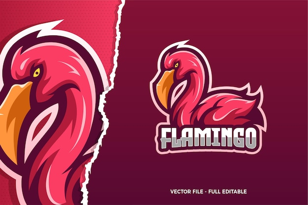 Szablon logo gry flamingo e-sport