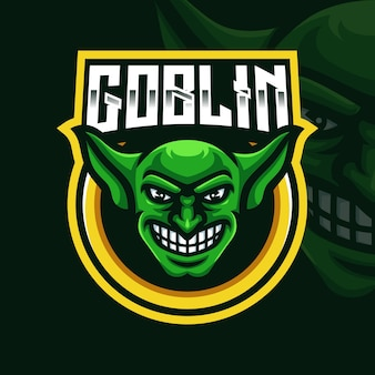 Szablon logo gry goblin head mascot dla streamera e-sportowego facebook youtube