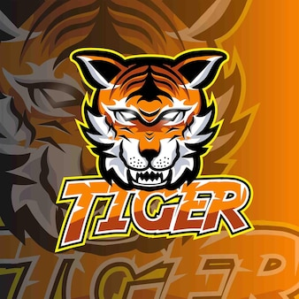 Szablon logo gry godło tygrysa e-sportowego